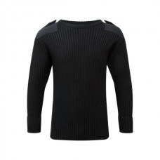 120 // Crew Neck Combat Jumper - Black