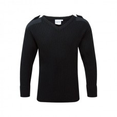 120V // V Neck Combat Jumper - Black