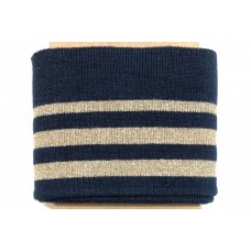 Boord Cuff Stripe Navy/Gold Lurex